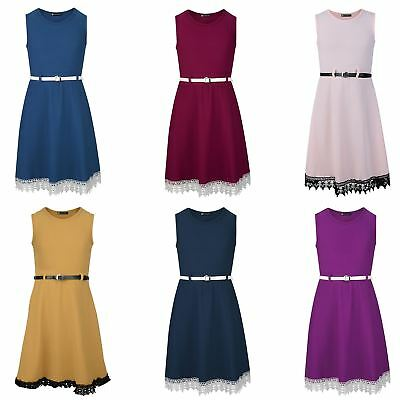 Girls Dress Belted Lace Hem Skater Textured Casual SmartParty Top 3-14 Years