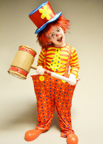 Kids Halloween Red Creepy Clown Costume