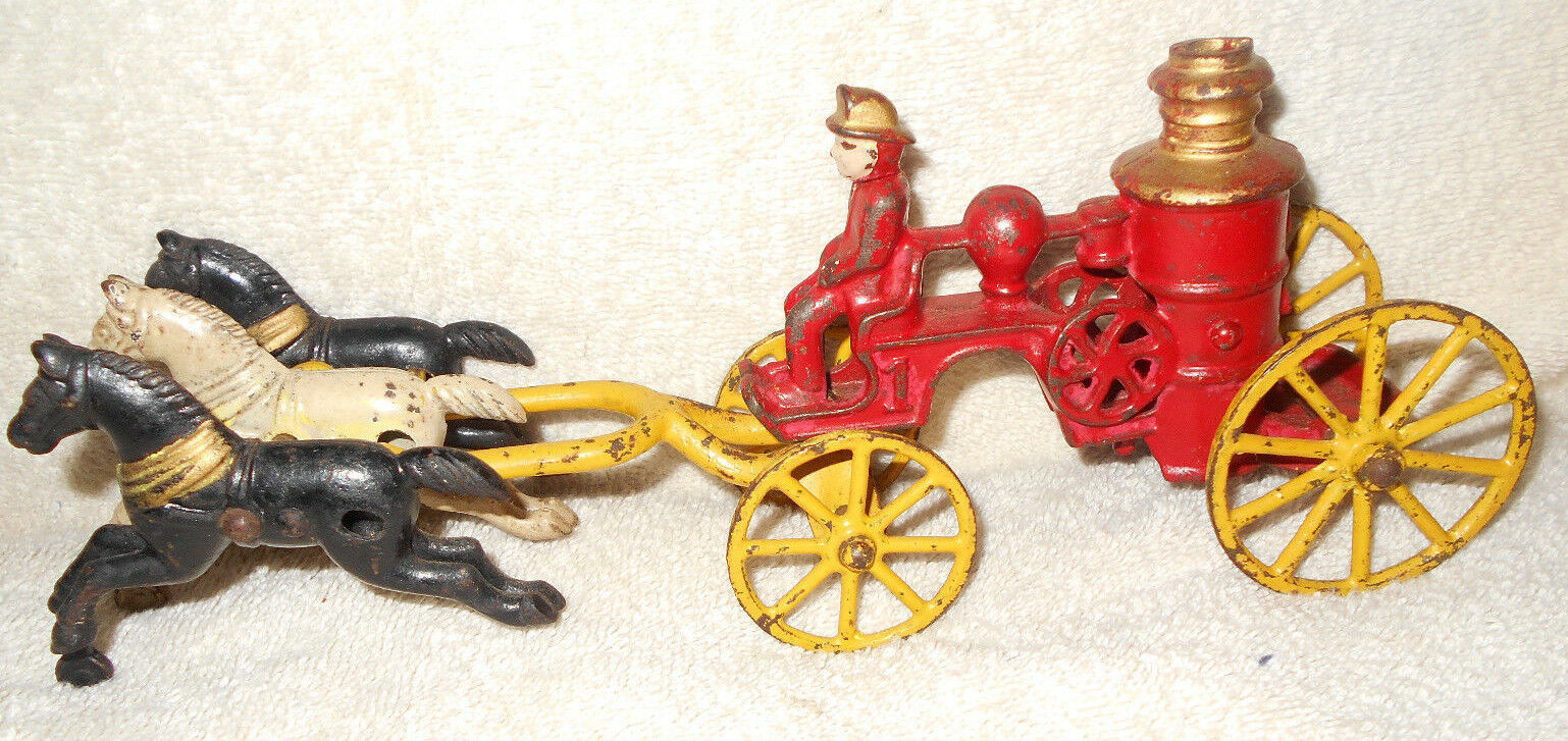 10 in Kenton Cast Iron Steam Fire Pumper Three Horse Drawn Wagon Fireman ORIG