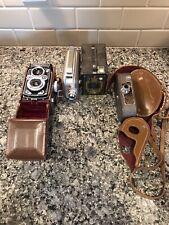 Mixed Camera Lot Rolleiflex Kodak (Cine) Reliant Brownie Keystone Leather