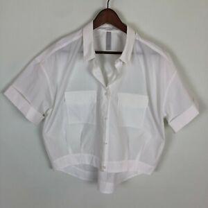 Athleta Utility White Crop Button Up Shirt Women's Size Large Short Sleeve