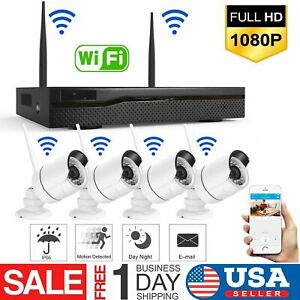 Wireless-4CH-1080P-NVR-Outdoor-indoor-WIFI-HD-Camera-CCTV-Security-System-Kit-US