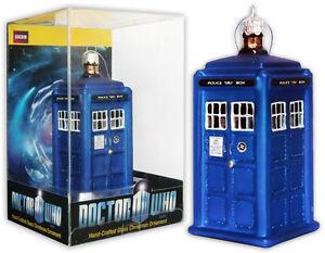 *NEW* Dr Doctor Who TARDIS 11cm Tall Glass Christmas Ornament - Xmas Matt Smith