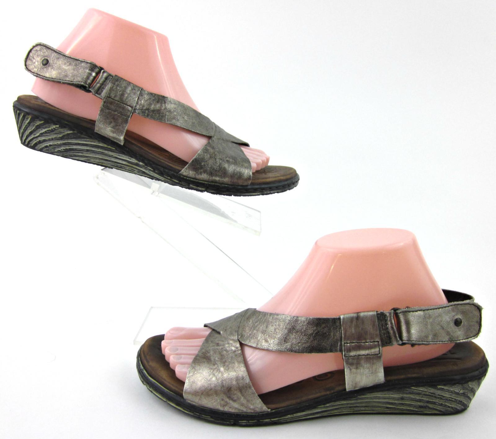 Born 'Anke' Slingback Wedge Sandals Pewter Metallic  Sz 9 Worn Once