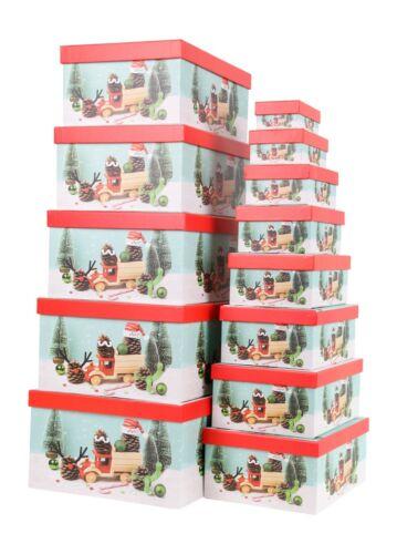 Aufbewahrungsboxen Schachteln Geschenkbox im 13er Set mit Deckel Winter Design