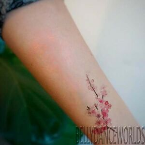 1 Set Of 3 Realistic Watercolor Pink Cherry Blossom Temporary Tattoo