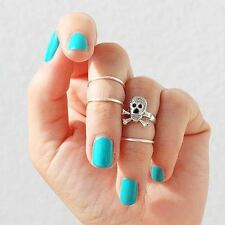 4pcs/1set Chic Womens Skull Geometry Knuckle Midi Mid Finger Tip Stacking Ring