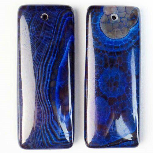 2Pcs 50x20x7mm Blue Black Fire Agate Oblong Pendant Bead