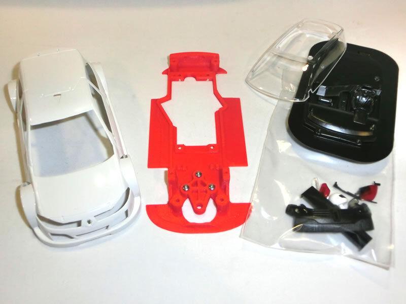 Chassis Megane T1 hybrid Mustang Slot Design + bodywork Megane T1 Ninco