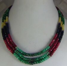345cts NATURAL RUBY EMERALD SAPPHIRE MULTI STRAND FACETED BEADS NECKLACE
