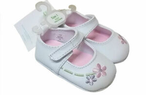 SFK-Wee-Kids-White-Floral-Baby-Girl-Shoes-Size-1-2-3mos-baby-infant-mary-jane