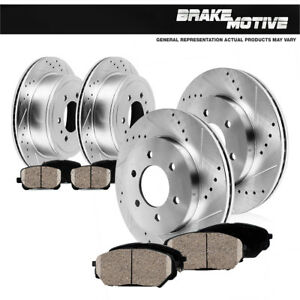 Front-amp-Rear-Drill-Slot-Brake-Rotors-And-Ceramic-Pads-For-01-07-Sequoia-2WD-4WD
