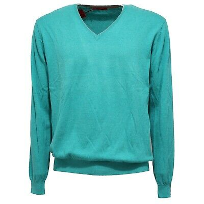 0832z Maglione Uomo Altea Turquoise V-neck Sweater Cotton/cashmere Man