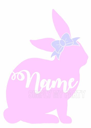RABBIT BUNNY PERSONALISED WITH BOW EASTER TSHIRT IRON ON TRANSFER