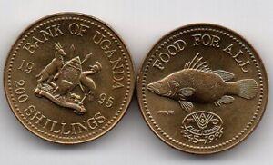 UGANDA 200 SHILLINGS 1995 FAO FISH COIN UNC