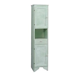 Colonna-da-bagno-in-legno-effetto-decape-colore-verde-anta-sinistra-150h-cm