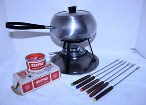 vintage 1960 wmf fraser cromargan stainless steel fondue set mid century modern ebay. Black Bedroom Furniture Sets. Home Design Ideas