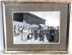 Gouache-signee-militaria-chevaux-peinture-enterrement-cercueil-infanterie-XIX