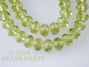 100pcs-4x6mm-Faceted-Rondelle-Crystal-Glass-Loose-Spacer-Bead-Olive-Green