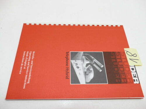Operating / service Manual Studer Telephone Hybrid deutsch/english    (e18