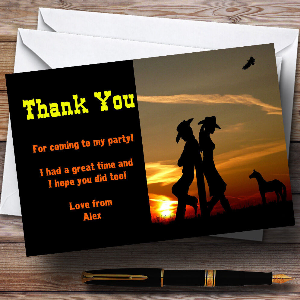 Cowboy And Cowgirl At Sunset Personalised Birthday Party Thank You Cards