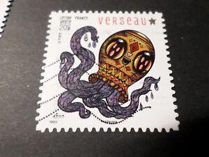 FRANCE-2014-timbre-951-AUTOADHESIF-ASTROLOGIE-VERSEAU-ZODIAC-STAMP-oblitere