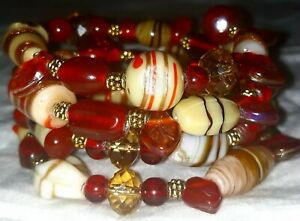Memory-Wire-Wrapped-Bracelet-Red-Beige-amp-Gold-Color-Toned-Glass-Beads-Handmade