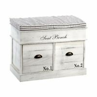 Shabby Chic Seat Bench Hallway Furniture Rustic White Storage Cabinet 2 Drawers