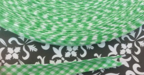 "Handmade 3//8/"" Double Fold Bias Tape green gingham"