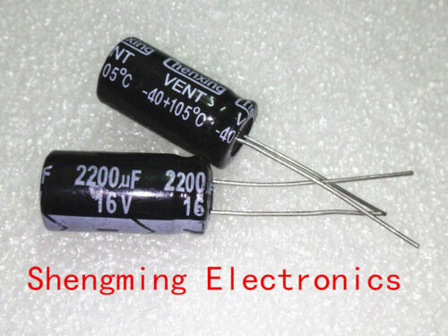 100PCS 2200uF 16V 105C Radial Electrolytic Capacitor 16V2200UF 10x20mm
