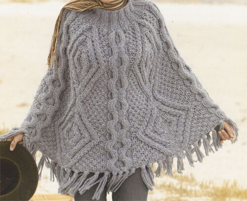 Knitting Pattern-Ladies  stunning cable knit Poncho - ideal for the Winter
