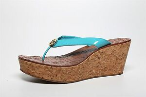 57ec19868 Tory Burch Women s Turquoise Patent Leather Wedge Thong Sandals 6236 ...