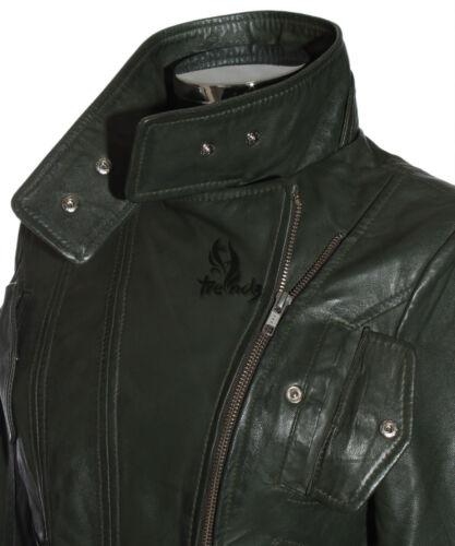 Nuovo Stile Biker Pelle di Agnello Reale Giacca in pelle di marca Ladies TARA VERDE OLIVA S4110