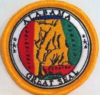 Alabama State Iron On Patch Mc Biker Emblem Gold Border 001