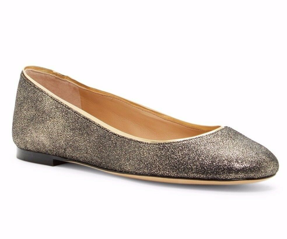 228 Diane Von Furstenberg Cambridge Ballet Flat gold Leather Size 7