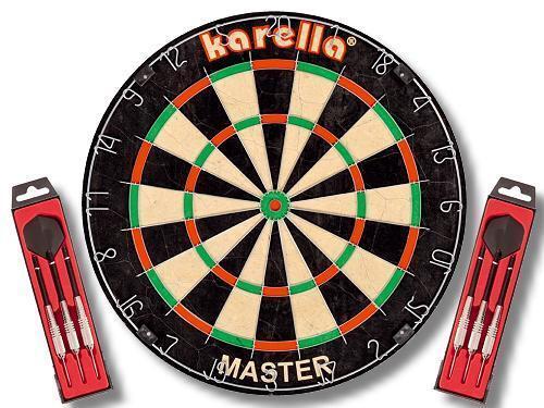 Original Karella Wettkampf Dartboard  Master Master Master  + 2 Set Steeldarts  Master  NEU 988f0b