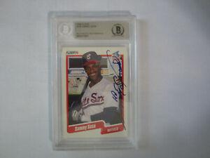 1990-Fleer-548-SAMMY-SOSA-Autograph-Signed-Card-Beckett-Chicago-White-Sox