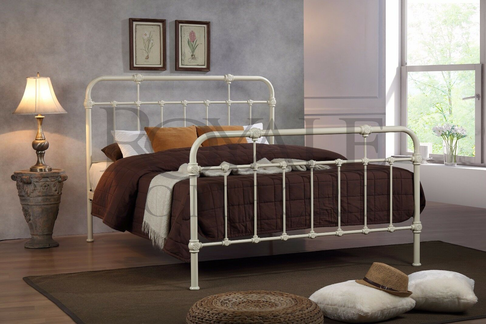 Berlin Double Metal Bed Frame Cream Hospital Style Small Double King Size Beds Ebay