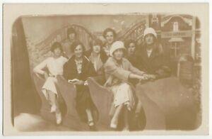 1920 Oakland, California Flapper Girls Studio RPPC Amusement Park Roller Coaster