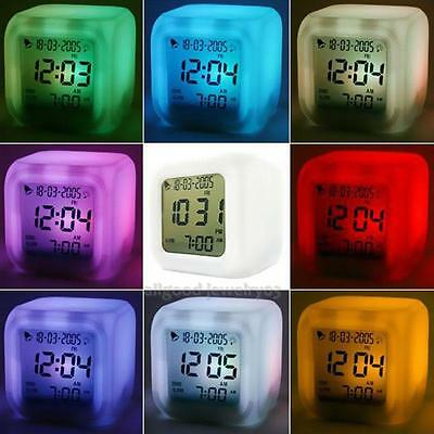New LED 7 Color Change Glowing Digital Alarm Thermometer Clock Cube Free Post