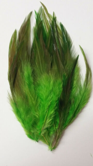 """50 x Green Rooster Feather - Sewing, Cards, Craft, Millinery 4"""" - 6"""""""