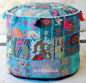 """22/"""" Vintage Turquoise Pouf Patchwork Ottoman Home Decor Cover Indian Handmade***"""