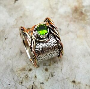 Peridot-Stone-Solid-925-Sterling-Silver-Band-Meditation-Statement-Ring-Size-M415