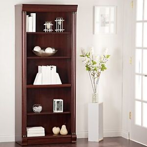 Details About 5 Shelf Cherry Tall Vertical Bookcase Home Living Room Furniture Office Storage
