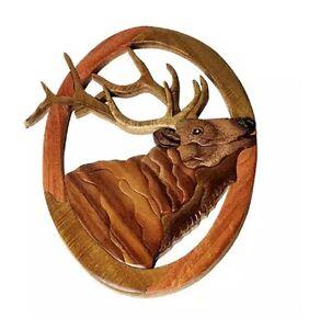 Image Is Loading Elk Head Wapiti Deer Intarsia Wood Wall Art