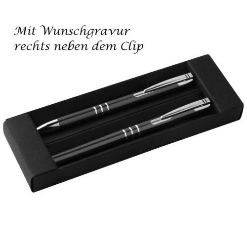 Farbe Metall Schreibset mit Gravur Rollerball schwarz Kugelschreiber