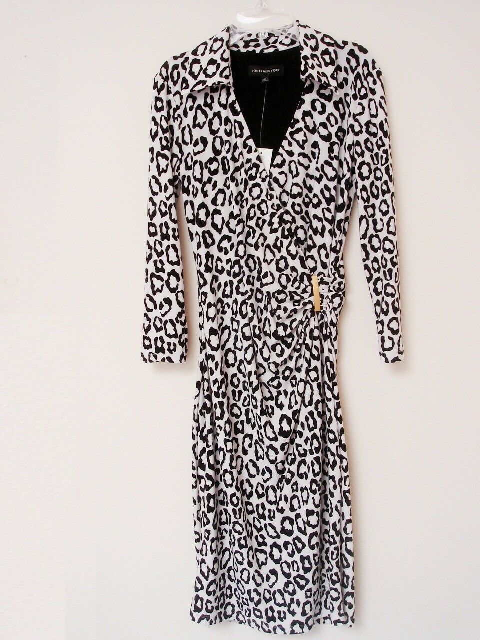 Jones New York Faux Wrap dress long sleeve damen 4 schwarz Weiß NWT