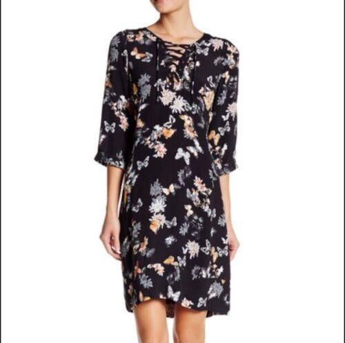 The Kooples Women's Black Butterfly Lace Up Dress