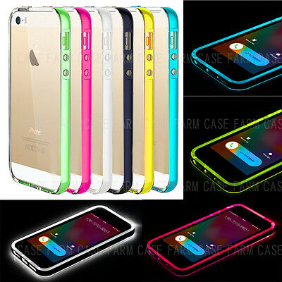 Light Up Flash Bumper Frame Case Cover Skin For Apple iPhone 6 5 5S Remind Call