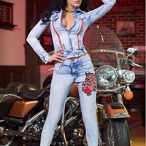 clair bleu femme Blazer Veste Xs jeans Jeans Foggi m pièces 2 skinny qSFWAnwz